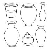Ceramic Utensils-Hand drawn Vector. Ceramic Utensils on white background, Black and White simple line Vector Illustration for Coloring Book - Line Drawn Vector vector illustration