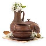 Ceramic Utensils On White Royalty Free Stock Images