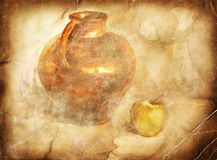 Ceramic vase with apple. Handmade picture based Royalty Free Stock Images