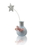 Ceramic vase with a glittered star, isolated Royalty Free Stock Photography