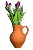 Ceramic vase with purple tulips and gypsophila isolated Royalty Free Stock Photography