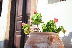 Ceramic vase in the yard near entrance at greek Stock Image
