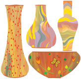 Ceramic vases with colorful painting Royalty Free Stock Photos