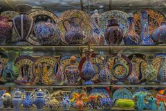 Ceramic vases and jugs at the Grand Bazaar royalty free stock images