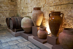 Ceramic vases in the kitchen area of the Inquisitor`s palace, Vi Royalty Free Stock Images