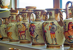 Ceramic vases with painted antique subjects. Royalty Free Stock Image
