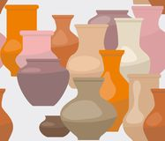 Ceramic vases and pots on a gray background. Ceramic vases and pots of different shape and color on grey background, seamless pattern royalty free illustration