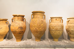 Ceramic vessels in Heraklion Archaeological Museum at Crete, Gre Stock Photo