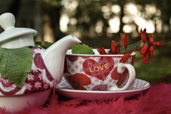 Ceramic vintage tea pot and cup with flowers Royalty Free Stock Images
