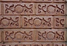 Ceramic on wall. Brown ceramic texture on wall Stock Photos