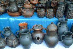 Ceramic ware of handwork at fair of national creativity Stock Photo