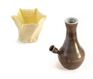 Ceramic water pipe, Bong and white vase Stock Images