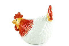 Ceramic white hen piggy bank isolated on white background Stock Image