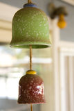 Ceramic wind chimes. Details of two hanging ceramic wind chimes Royalty Free Stock Photos