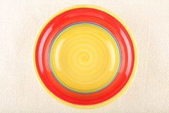 Ceramic Yellow Red Plate Stock Images