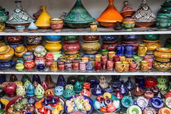 Ceramicl utensil on Moroccan souvenir shop, tajines Royalty Free Stock Image