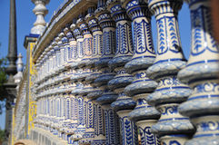 Ceramics. First plane of ceramics. Plaza de Espania, Seville Stock Photos