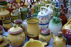 Ceramics. Containers or pottery vessels of various colors Royalty Free Stock Image