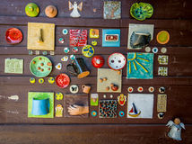 Ceramics art bacground. Mosaic of ceramics art: various tiles and objects royalty free stock photography