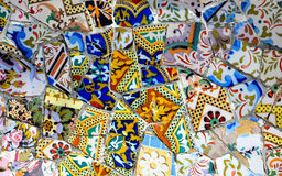 Ceramics from bench in Park Guell Royalty Free Stock Image