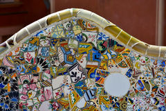 Ceramics from bench in Park Guell Royalty Free Stock Images