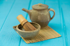 Ceramics bowl and chasen - special bamboo matcha tea whisk, lyin Stock Image