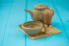 Ceramics bowl and chasen - special bamboo matcha tea whisk, lyin Royalty Free Stock Photography