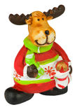 Ceramics deer. There is a ceramics deer in the photo. It is in Santa's clothing Royalty Free Stock Image