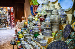 Ceramics displayed for sale in medina of Fez, Morocco Royalty Free Stock Photos