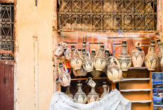 Ceramics displayed for sale in medina of Fez, Morocco Royalty Free Stock Photography