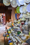 Ceramics displayed for sale in medina of Fez, Morocco Royalty Free Stock Photo