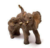 Ceramics elephant with elephant calf. Isolated on white backgroud Stock Photography