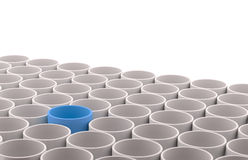 Ceramics grey and blue flowerpot set Stock Photography