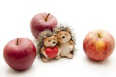 Ceramics hedgehog with heart Royalty Free Stock Photography