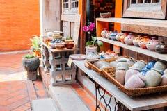 Ceramics at Lukang old street, shopping street in Lukang, Taiwan. Lukang, Taiwan - May 5, 2018 : Lukang old street, shopping street Stock Image