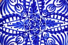 Ceramics painted blue shapes plate Stock Photography