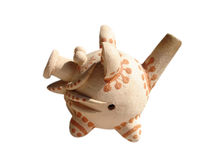 Ceramics pig. On the white background, whistle. Handwork. Ukrainian National Folk Royalty Free Stock Photography