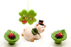Ceramics pig with cloverleaf Stock Photography