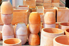 Ceramics pottery big pots for garden plants Stock Photography