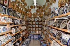 Ceramics souvenir shop, traditional Greek vases Royalty Free Stock Image
