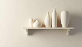 Ceramics vases on the shelf Royalty Free Stock Images