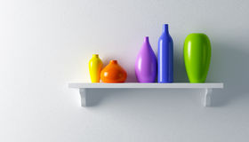 Ceramics vases on the shelf Royalty Free Stock Photography