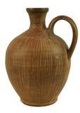 Ceramiczna butelka ręcznie robiony glina pojedynczy białe tło Obraz Royalty Free
