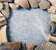 Ceramiczna czerep rama na marmurze Obrazy Stock