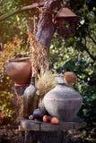 Ceramiczna glina jest antycznym brown wina dzbankiem Fotografia Stock