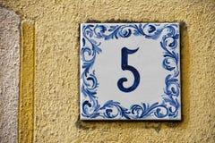 Ceramiczna liczby płytka 5 Fotografia Royalty Free
