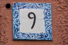 Ceramiczna liczby płytka 9 Fotografia Royalty Free