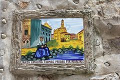 Ceramiczna płytka święty Santa Catalina, patron Valldemossa, Majorca Obrazy Stock