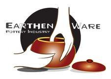 Ceramicznego przemysłu artykuły loga Earthen projekt ilustracji