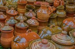 Ceramiczni garnki, tradycyjni od Sibiu, Transylvania teren obrazy stock